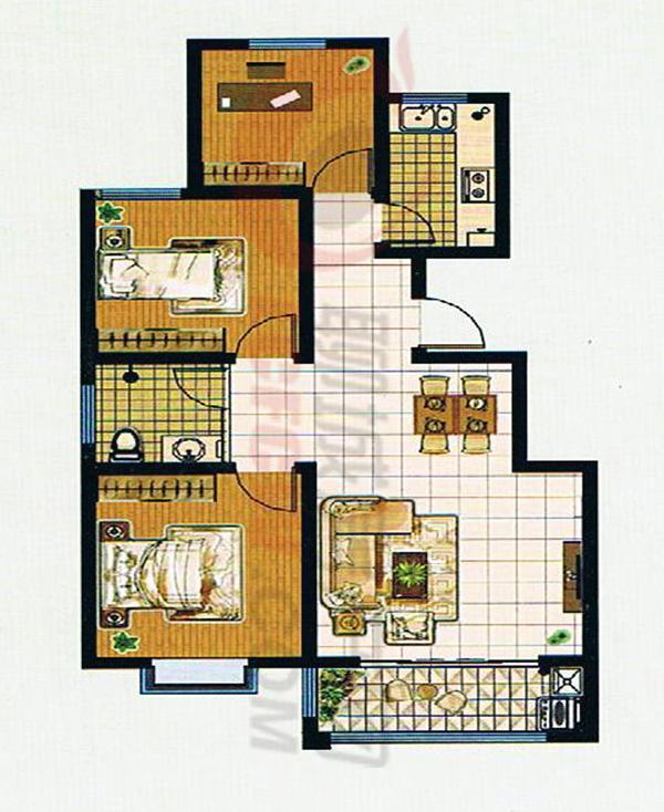 95平米三室两厅一卫户型图