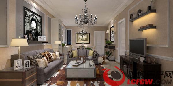 欧式风格样板间客厅效果图